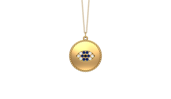 "14K Gold Diamond (0.10 Ct, G-H Color, SI2-I1 Clarity) Evil Eye Disc Pendant, 18"" Gold Chain"