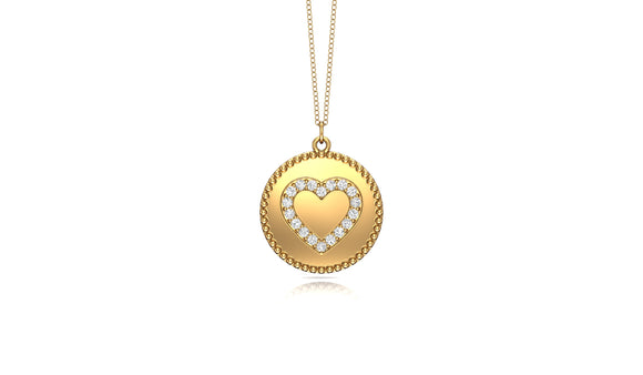 "14K Gold Diamond (0.14 Ct, G-H Color, SI2-I1 Clarity) Heart Disc Pendant, 18"" Gold Chain"