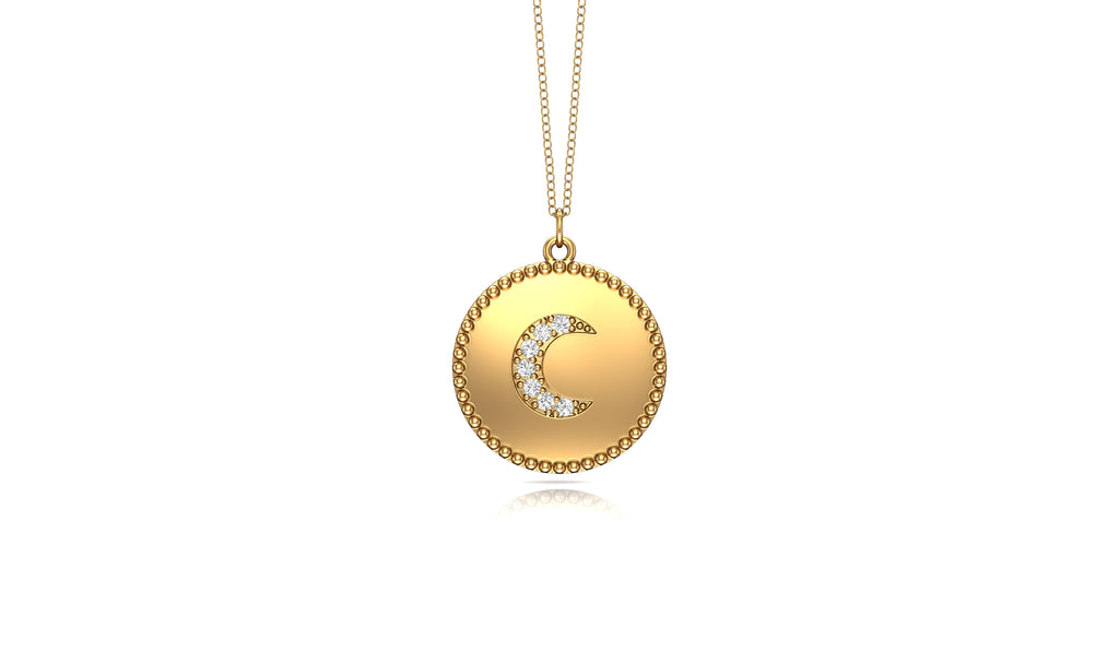 "14K Gold Diamond (0.05 Ct, G-H Color, SI2-I1 Clarity) Moon Disc Pendant, 18"" Gold Chain"