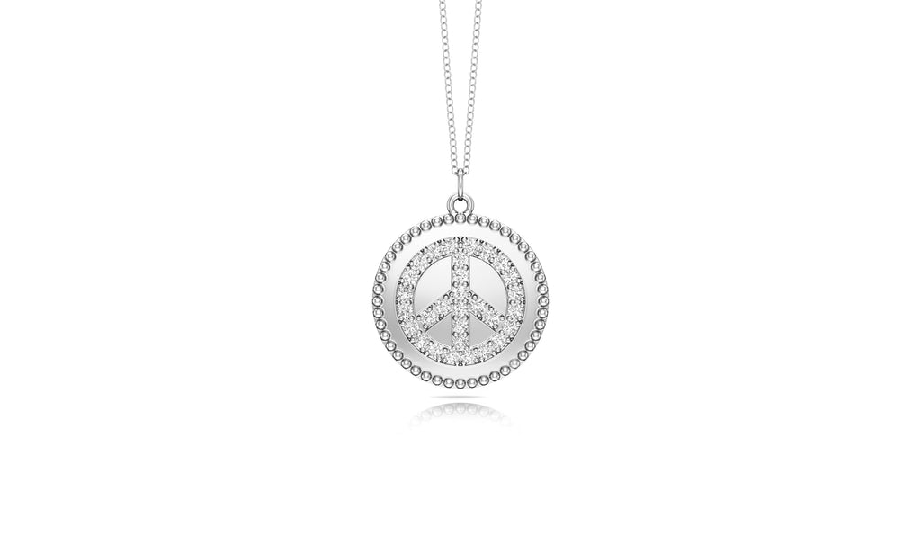 "14K Gold Diamond (0.24 Ct, G-H Color, SI2-I1 Clarity) Peace Disc Pendant, 18"" Gold Chain"