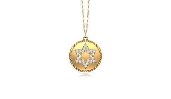 "14K Gold Diamond (0.19 Ct, G-H Color, SI2-I1 Clarity) Star Disc Pendant, 18"" Gold Chain"