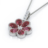 "14K Gold Ruby & Diamond Cluster Flower Pendant, 18"" Gold Chain"
