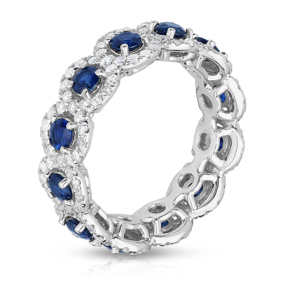 14K White Gold Blue Sapphire & Diamond ( 1.30 Ct, G-H Color, SI2-I1 Clarity) Eternity Wedding Ring