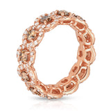 14K Rose Gold Champagne & White Diamond (2.55 Ct, G-H Color, SI2-I1 Clarity) Eternity Wedding Ring