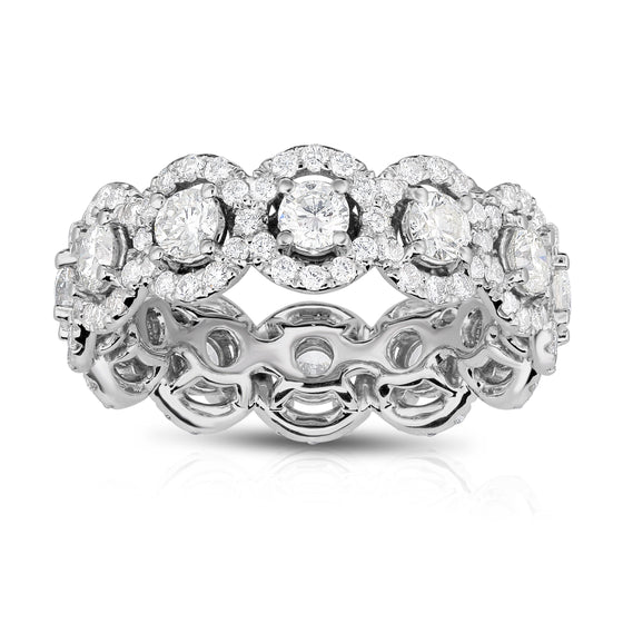 14K White Gold Diamond (2.55 Ct, G-H Color, SI2-I1 Clarity) Eternity Wedding Ring