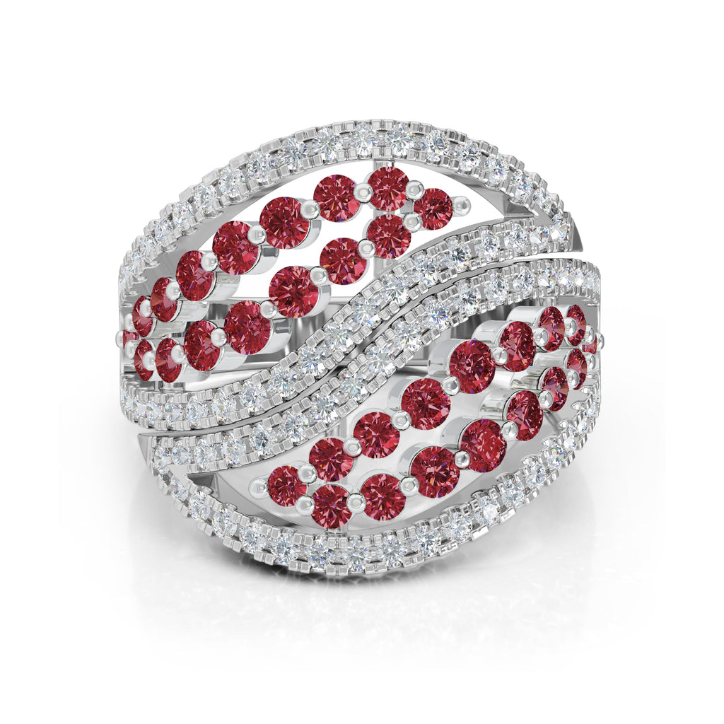 14K Gold Diamond (1.00 Ct, G-H Color, SI2-I1 Clarity) & Ruby Ring