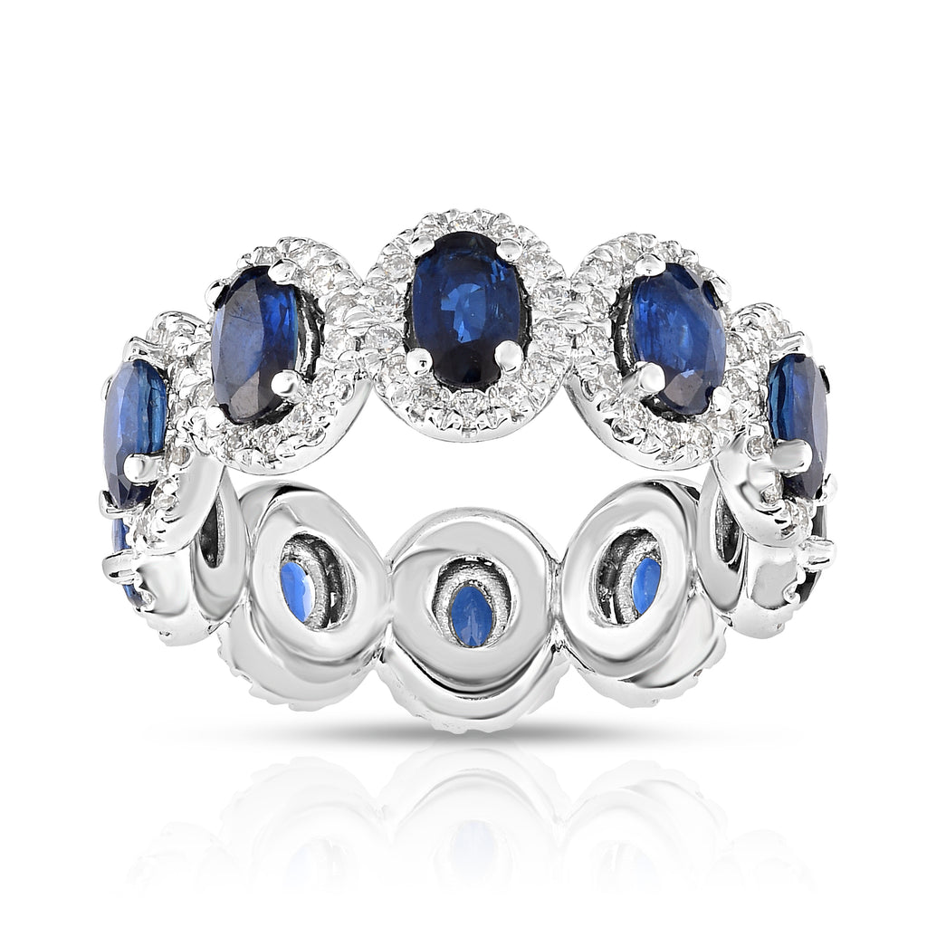 14K White Gold Oval Blue Sapphire & Diamond ( 0.90 Ct, G-H Color, SI2-I1 Clarity) Eternity Wedding Ring