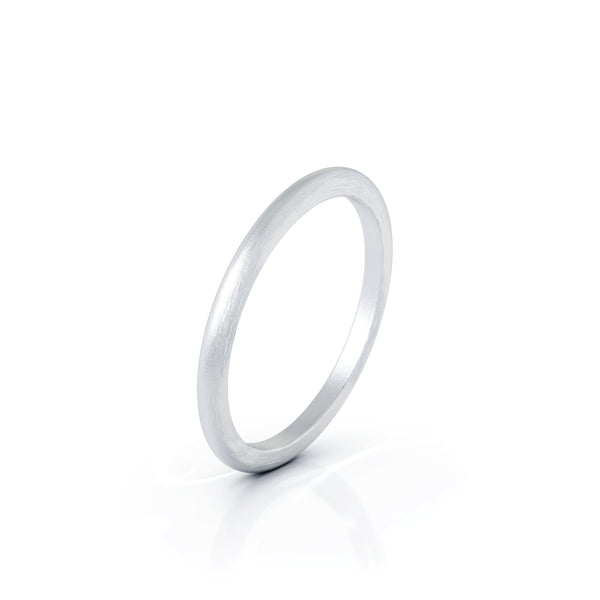 Sterling Silver Domed Profile 1.5MM Matte Finish Wedding Band
