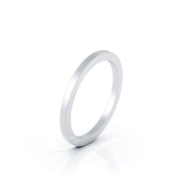 Sterling Silver Square Profile 1.5MM Matte Finish Wedding Band