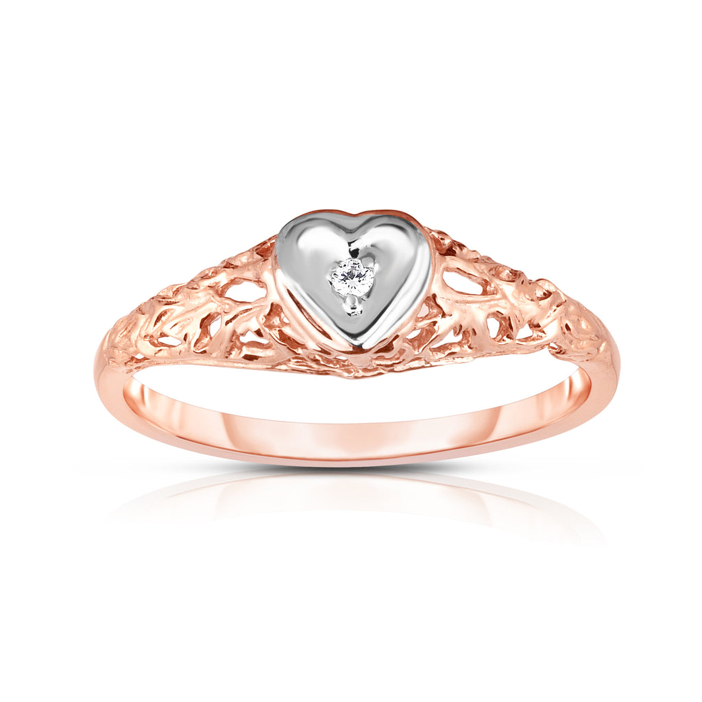 14K Gold Diamond (0.02 Ct, I1-I2 Clarity, G-H Color) Heart Ring