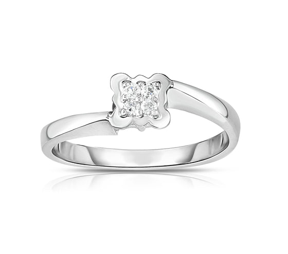 14K  Gold Diamond (0.05 Ct, G-H color, SI2-I1 Clarity) Squared Flower Stackable Ring