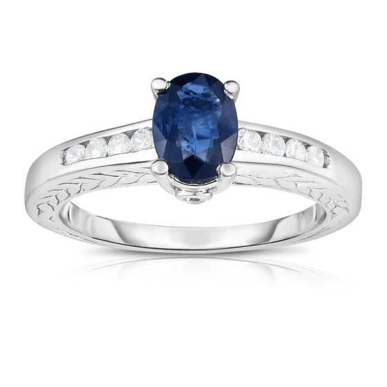 14K White Gold Oval Blue Sapphire & Diamond (0.20 Ct, G-H Color, SI2-I1 Clarity) Ring