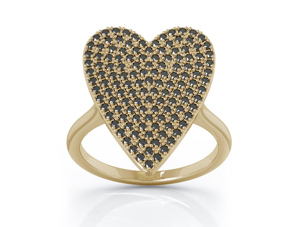 14K Gold 0.60 Ct Black Diamond Large Heart Ring