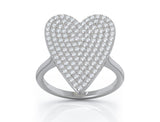 14K Gold Diamond (0.60 Ct, G-H Color, SI2-I1 Clarity) Large Heart Ring