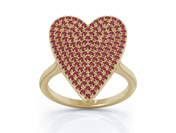 14K Gold Ruby (0.60 Ct, G-H Color, SI2-I1 Clarity) Large Heart Ring