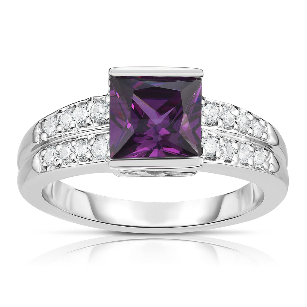 14K White Gold Princess Cut Gemstone & Diamond (0.25 Ct, G-H Color, I1-I2 Clarity) Ring