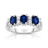 14K White Gold Oval Blue Sapphire & Diamond (1/4 Ct, G-H Color, SI2-I1 Clarity) Ring