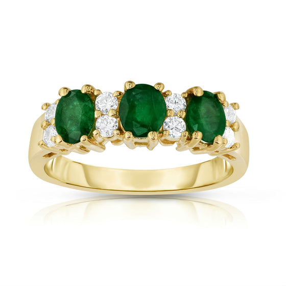 14K Yellow Gold Oval Emerald & Diamond (1/4 Ct, G-H Color, SI2-I1 Clarity) Ring