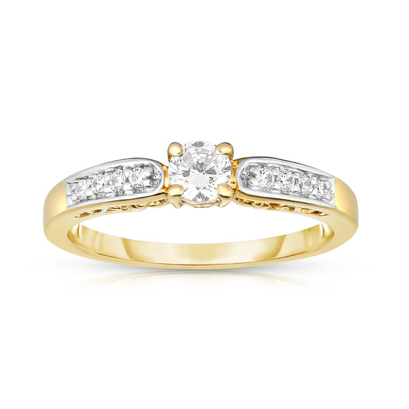 14K Gold Diamond (0.33 Ct, I1-I2 Clarity, G-H Color) Engagement Ring