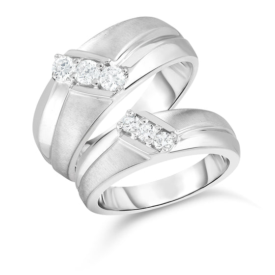 14K White Or Yellow Gold Diamond (0.45 Ct, G-H Color, SI2-I1 Clarity) His & Hers Matching Bridal Ring Set