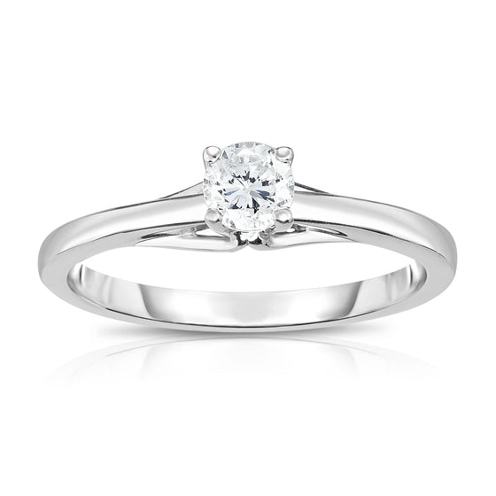 14K White Or Yellow Gold Diamond (0.25 Ct, SI2-I1 Clarity, G-H Color) 4-Prong Solitaire Ring