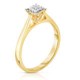 14K  Gold Diamond (0.06 Ct, G-H color, SI2-I1 Clarity) Square Stackable Ring
