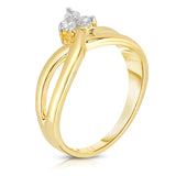 14K Gold Diamond (0.18 Ct, G-H, SI2-I1 Clarity) 3-Stone Ring