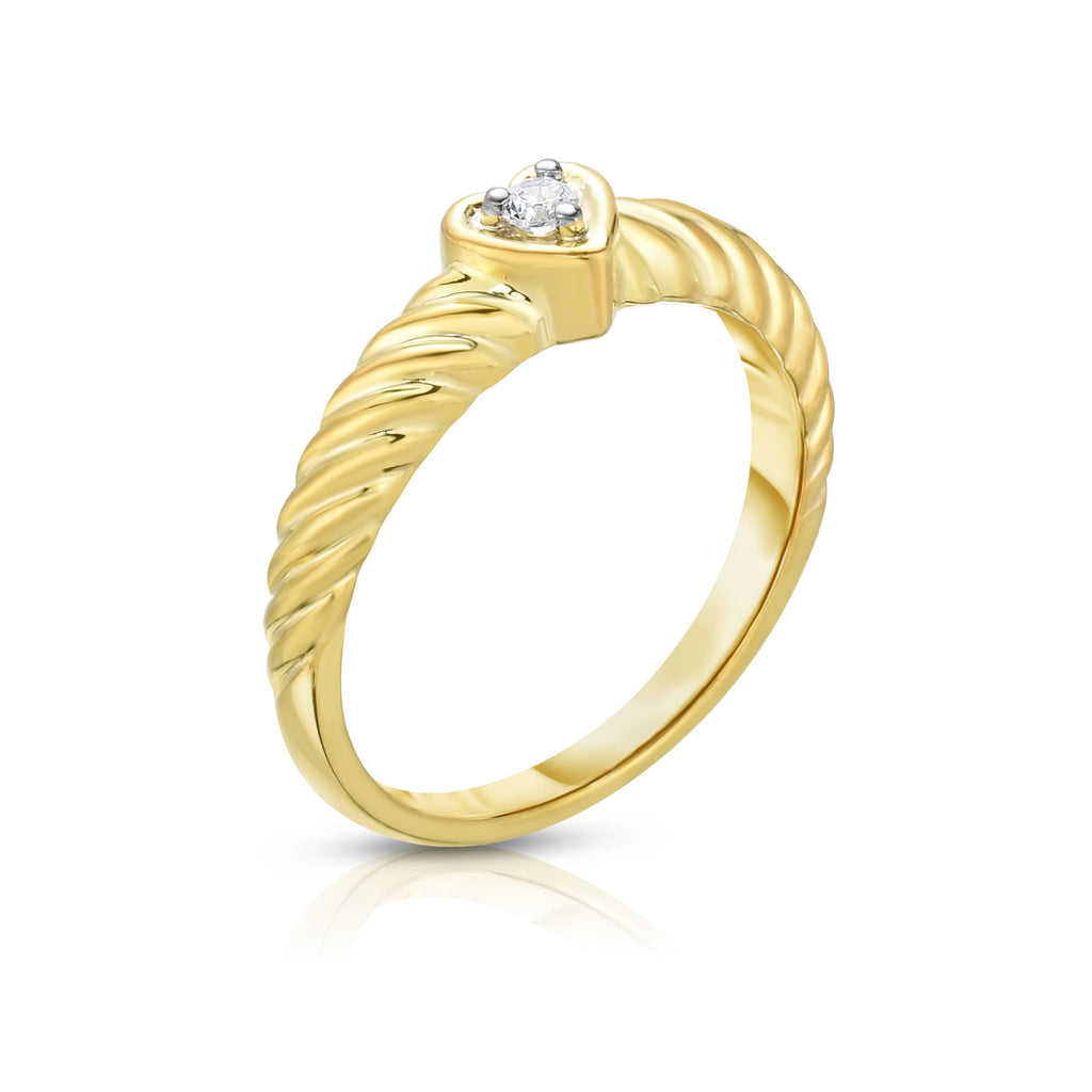 14K Gold Diamond (0.05 Ct, I1-I2 Clarity, G-H Color) Heart Twisted Ring