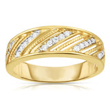14K Gold Diamond (0.25 Ct, G-H Color, SI2-I1 Clarity) Unisex Wide Wedding Ring