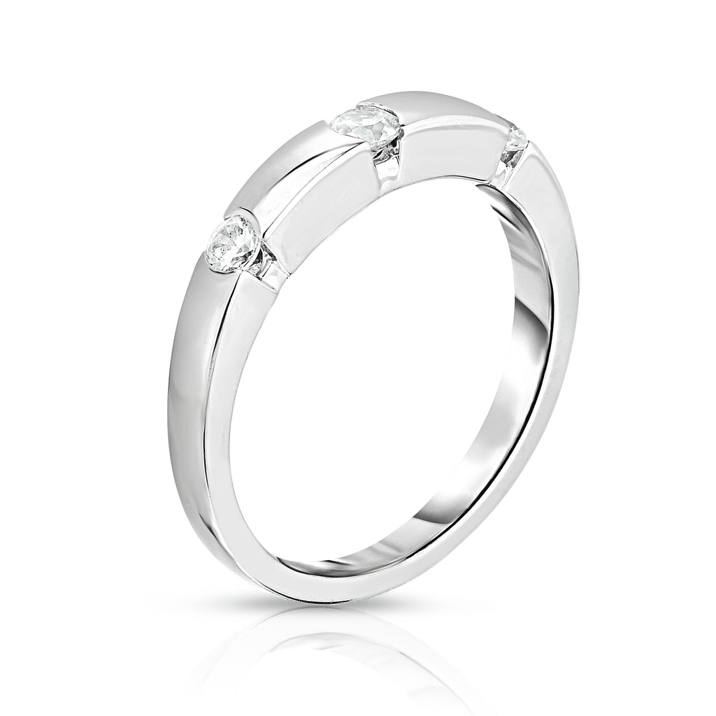 14K White Gold 3-Stone Channel Set Diamond (0.22 Ct, G-H Color, SI2-I1 Clarity) Ring