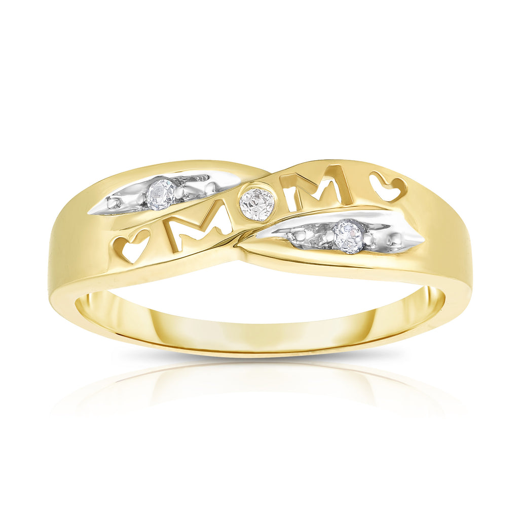 "14K Gold Diamond (0.06 Ct, I1-I2 Clarity, G-H Color) ""Mom"" Heart Ring"
