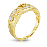 "14K Gold Diamond (0.10 Ct, I1-I2 Clarity, G-H Color) ""Love"" Heart Ring"