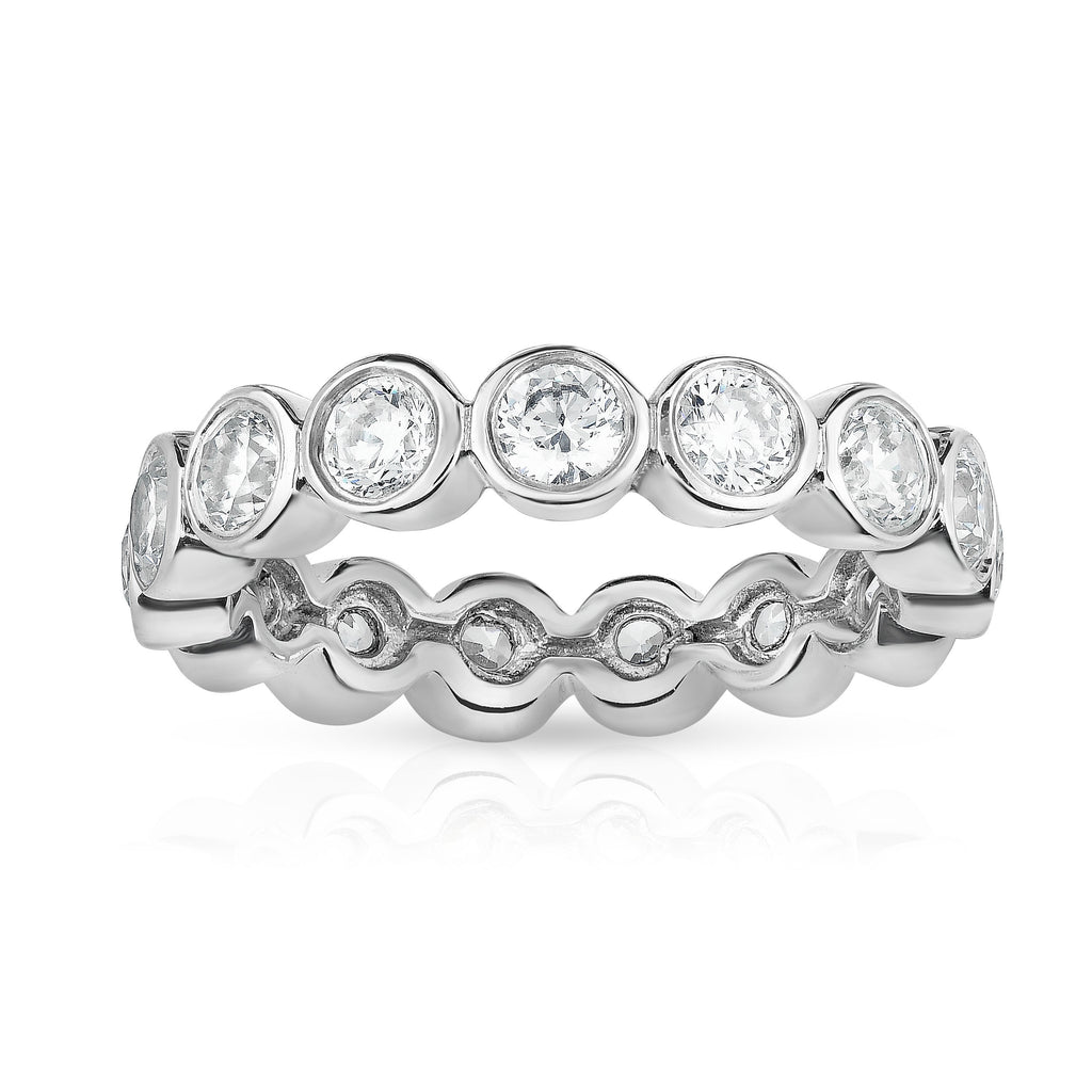 14K White Gold Bezel Set Diamond (2.30 Ct-2.85 Ct, G-H Color, SI2-I1 Clarity) Eternity Ring
