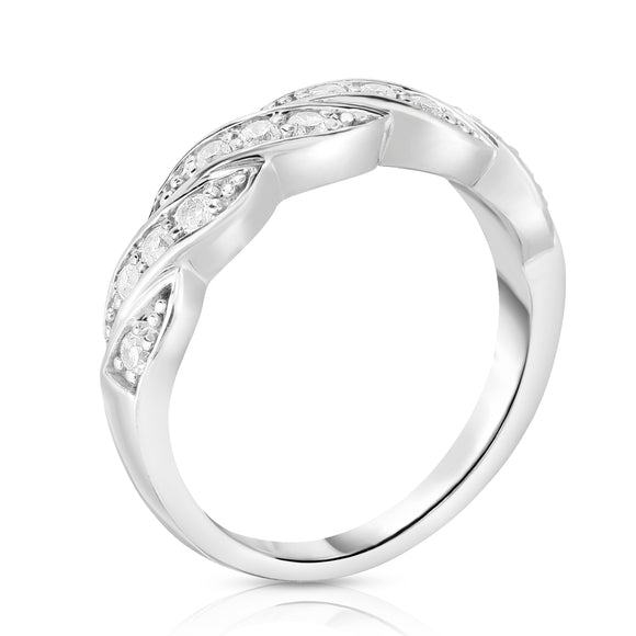 14K White Gold Diamond (0.25 Ct, G-H Color, SI2-I1 Clarity) Braided Wedding Ring