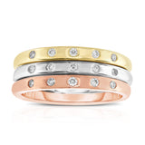 14K White, Yellow & Rose Gold (0.18 Ct,G-H,SI2-I1 Clarity) Stackable Ring Set