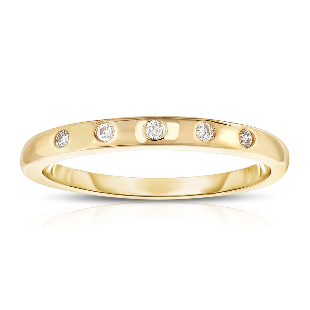 14K White, Yellow or  Rose Gold (0.06 Ct, G-H, SI2-I1 Clarity) Stackable Ring