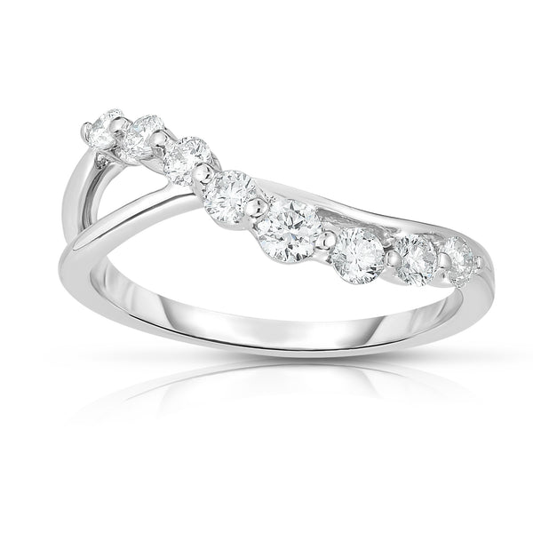 14k Gold Diamond (0.40 Ct, G-H, I1-I2 Clarity) Wave Ring