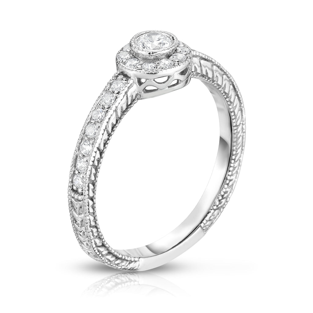 14K White Gold Bezel Set Diamond (0.38 Ct, G-H Color, I1-I2 Clarity) Ring