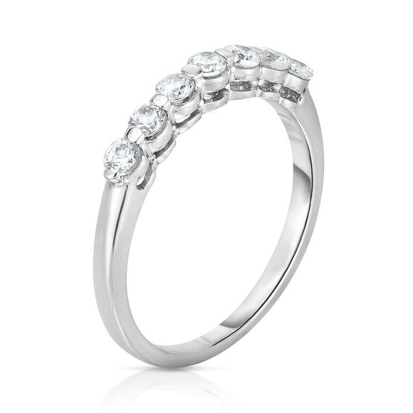 14K White Gold 7-Stone Single Prong Diamond (0.45 Ct, G-H Color, SI2-I1 Clarity) Ring