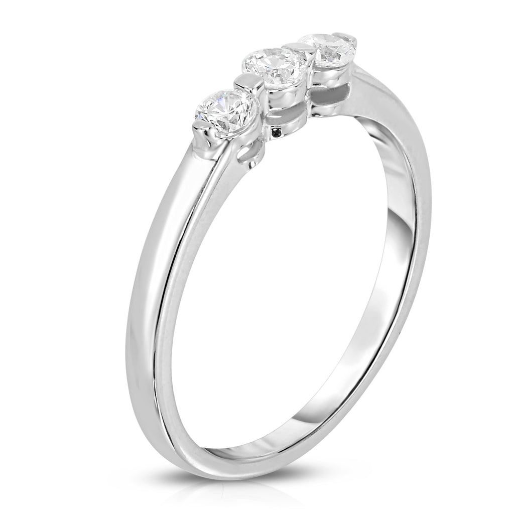14K White Gold 3-Stone Single Prong Diamond (0.23 Ct, G-H Color, SI2-I1 Clarity) Ring