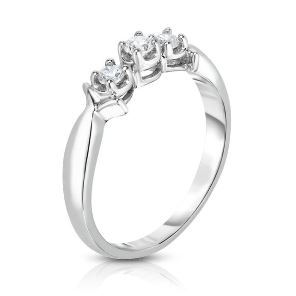 14K White Gold 3-Stone Diamond (0.18 Ct, G-H Color, I1-I2 Clarity) Engagement Ring