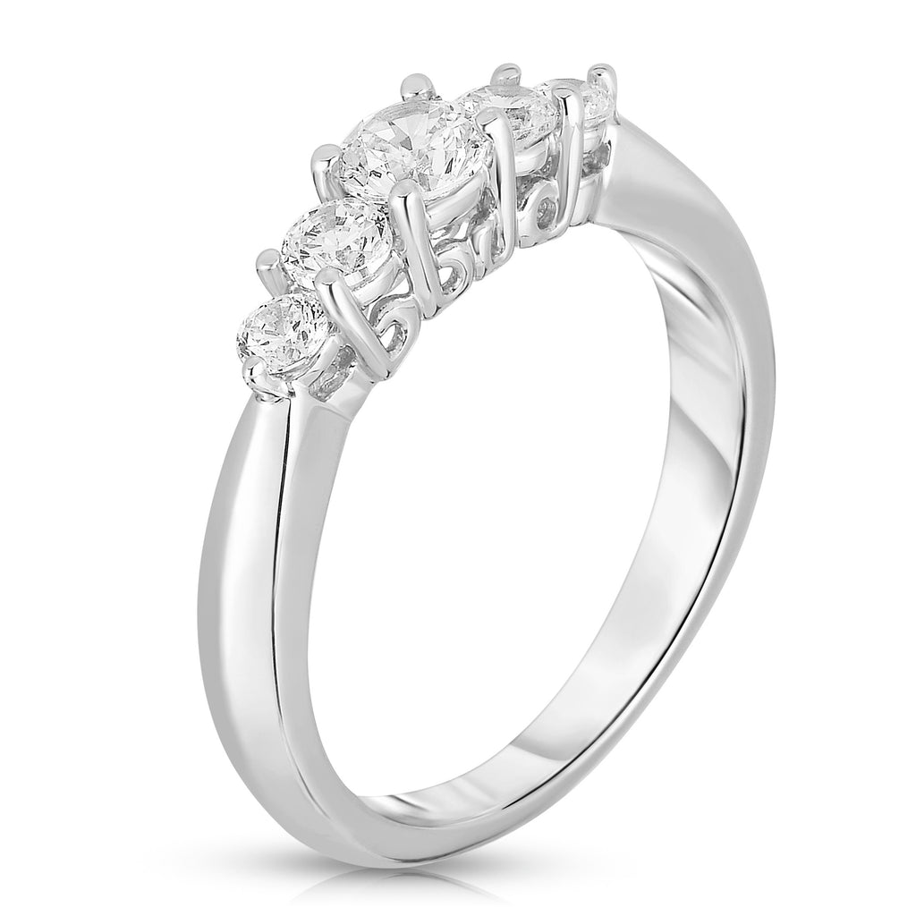 14K White Gold Diamond (0.60 Ct, G-H, SI2-I1 Clarity) 5-Stone Ring