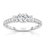 14K White Gold 3-Stone Diamond (3/4 Ct, G-H Color, SI2-I1 Clarity) Engagement Ring