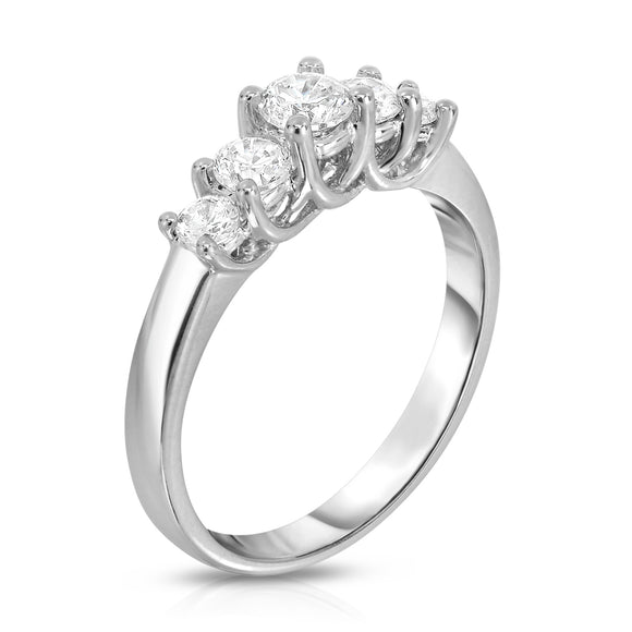 14K White Gold 5-Stone Diamond (0.65 Ct, G-H Color, SI2-I1 Clarity) Engagement Ring