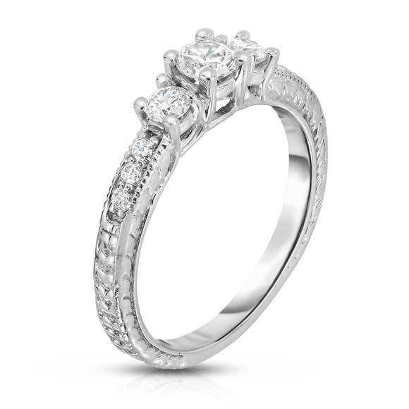 14K White Gold 3-Stone Diamond (0.40 Ct, G-H Color, SI2-I1 Clarity) Engagement Ring