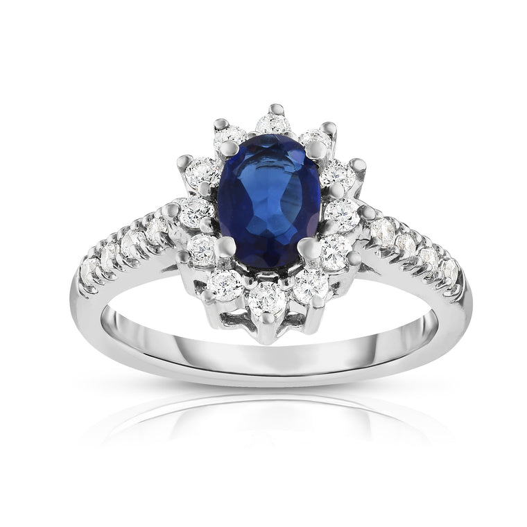 14K White Gold Oval Blue Sapphire & Diamond (0.40 Ct, G-H Color, I1-I2 Clarity) Ring