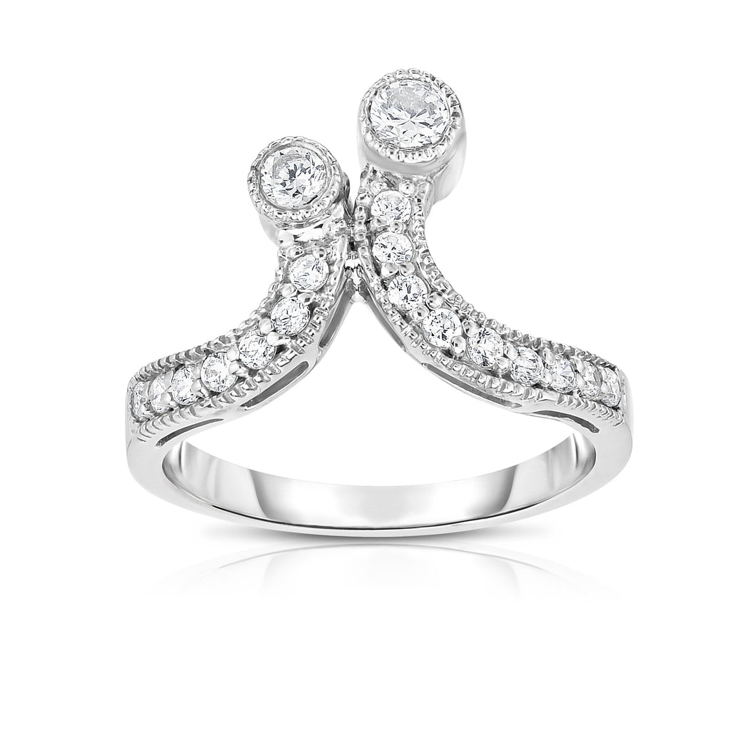 14K White Gold Diamond (0.40 Ct, G-H Color, SI2-I1 Clarity) 2-Stone Ring