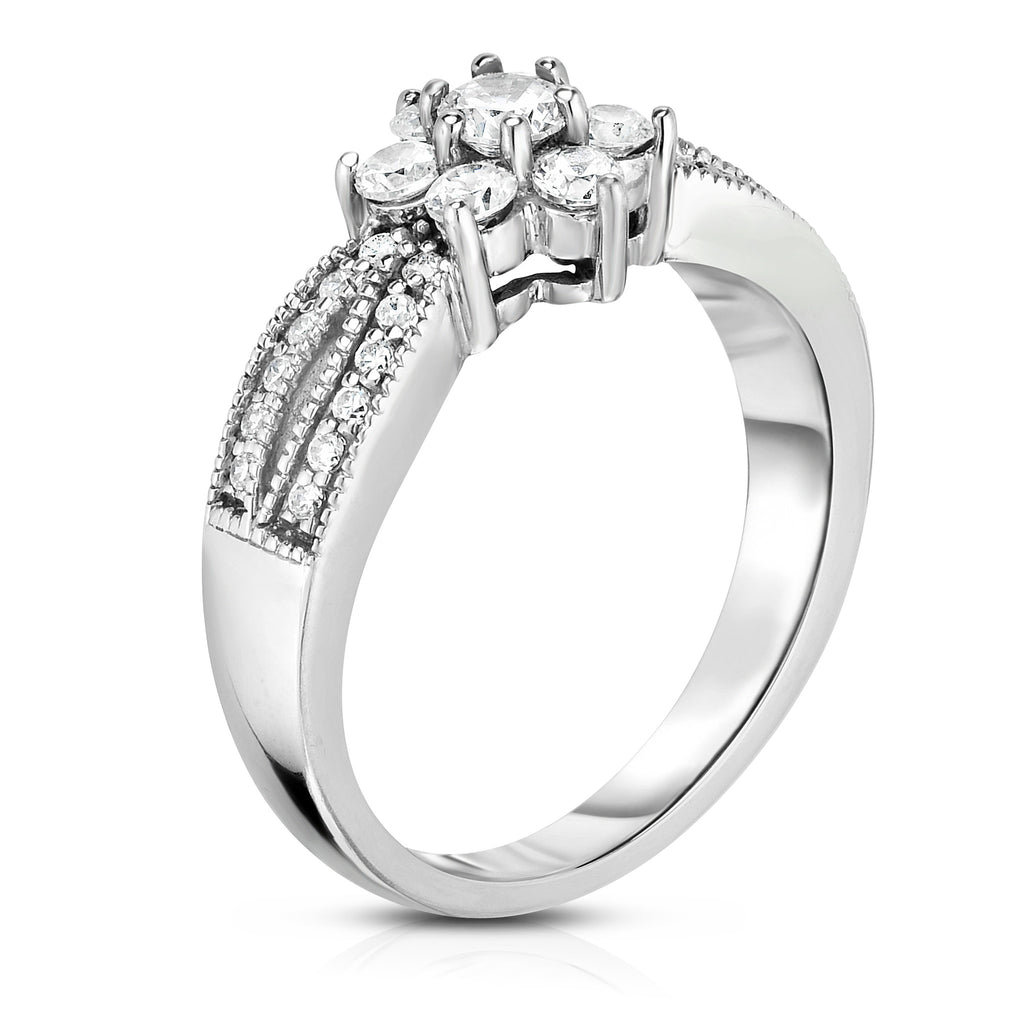 Noray Designs 14K White Gold Diamond (0.60 Ct, G-H Color, SI2-I1 Clarity) Flower Ring