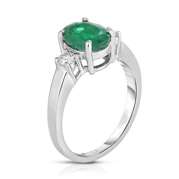 14K White Gold Oval Emerald & Diamond (0.20 Ct, G-H Color, SI2-I1 Clarity) Ring