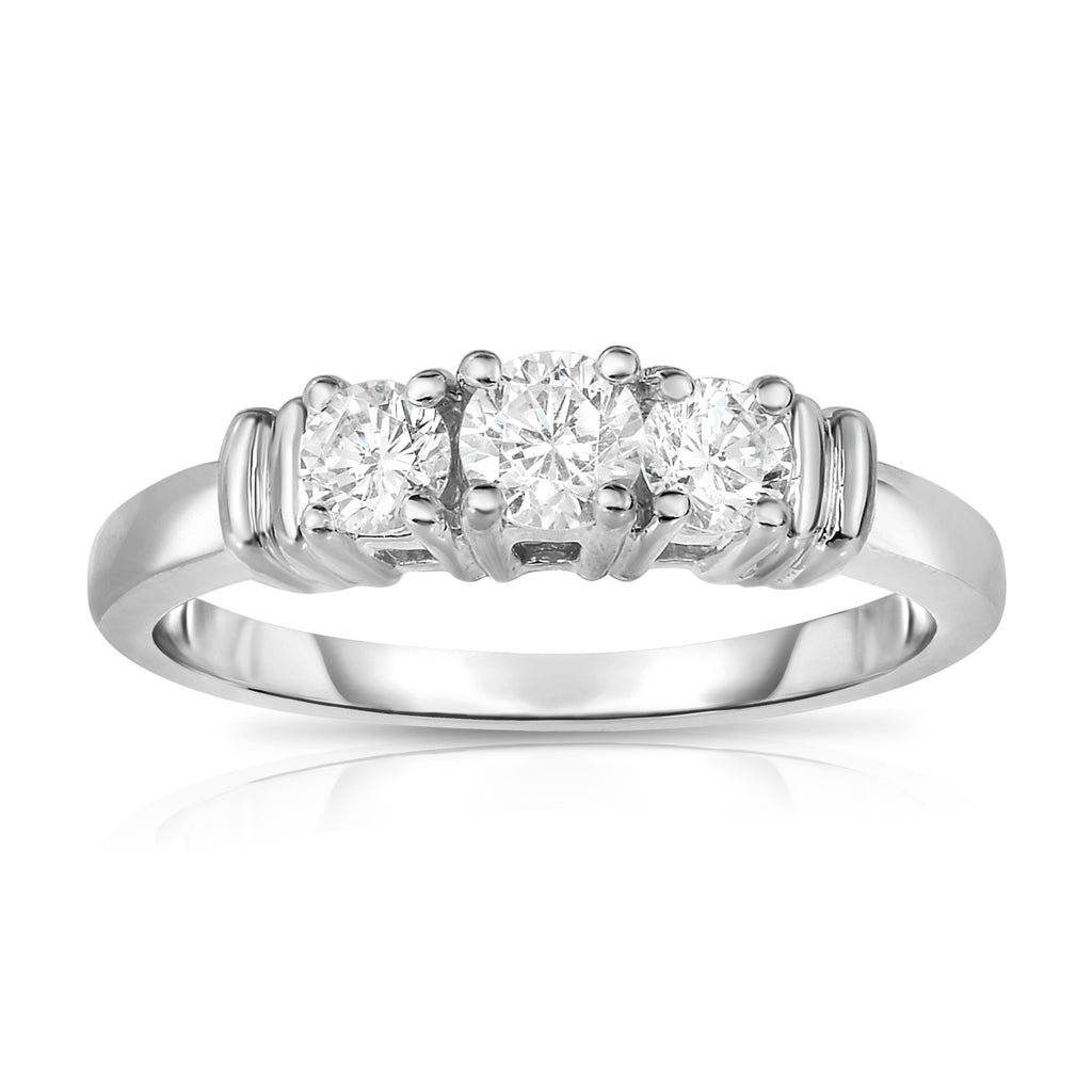 14K White Gold 3-Stone Diamond (0.50 Ct, G-H Color, SI2-I1 Clarity) Engagement Ring